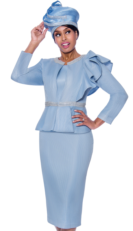 GMI 7992-IB-IH ( 3pc Novelty Womens Church Suit With Decorative Ruffled Shoulder And Rhinestone Accents )