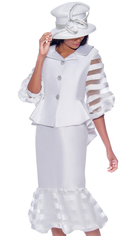 GMI 7632-WH-IH ( 2pc Silk Look With Organza Womens Church Suit With Stripe Sleeves And Trim With Peplum Jacket And High-Low Hem )