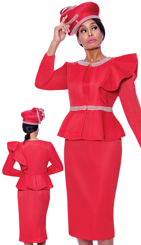 GMI 7992-R ( 3pc Novelty Womens Church Suit With Decorative Ruffled Shoulder And Rhinestone Accents )