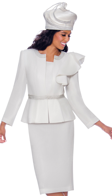GMI 7992-W ( 3pc Novelty Womens Church Suit With Decorative Ruffled Shoulder And Rhinestone Accents )