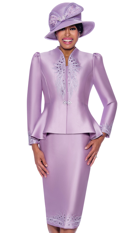 GMI 8052-L ( 3pc Silk Look Ladies Suit For Sunday With Beautiful Laser Cut Outs And Embellished Design On Jacket And Skirt )