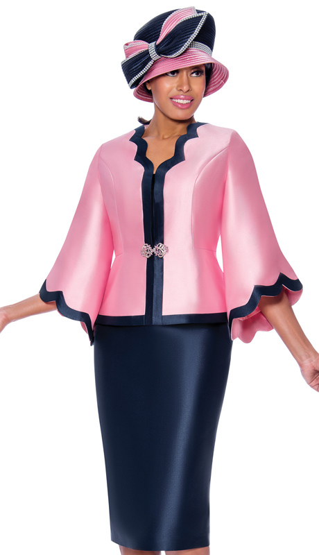 GMI 8063-PN ( 2pc Silk Look Womens Church Suit With Scalloped Two Tone Jacket And Jeweled Clasp )