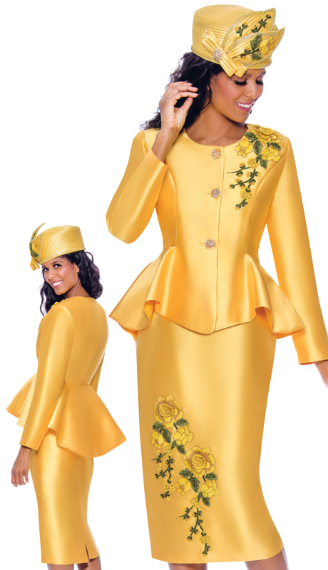 GMI 8072-Y ( 2pc Silk Look Ladies Church Suit With Jeweled Buttons, Peplum Jacket, And Lace Embroidery )