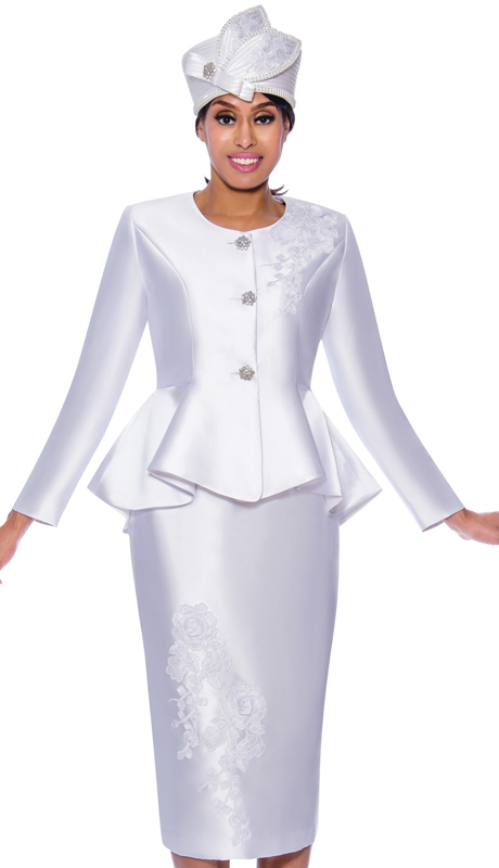 GMI 8072-W ( 2pc Silk Look Ladies Church Suit With Jeweled Buttons, Peplum Jacket, And Lace Embroidery )