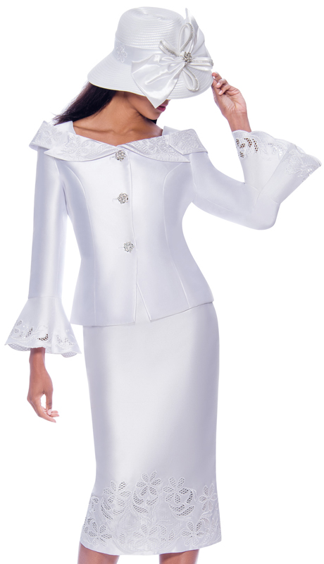 GMI 7862-W-IH ( 2pc Silk Look Womens Church Suit With Lace Embroidery, Decorative Buttons, And Portrait Collar )