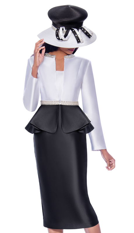 GMI 7893-BW-ih ( 3pc Silk Look Ladies Sunday Suit With Two Tone Flare Peplum Jacket And Rhinestone Details )