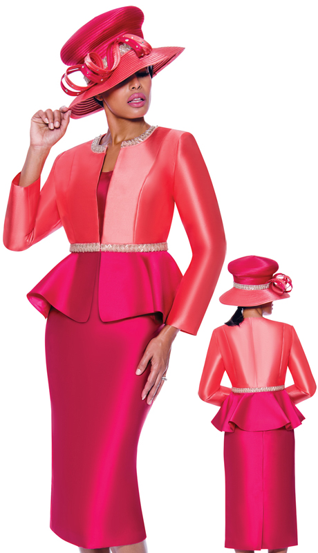 GMI 7893-CM ( 3pc Silk Look Ladies Sunday Suit With Two Tone Flare Peplum Jacket And Rhinestone Details )