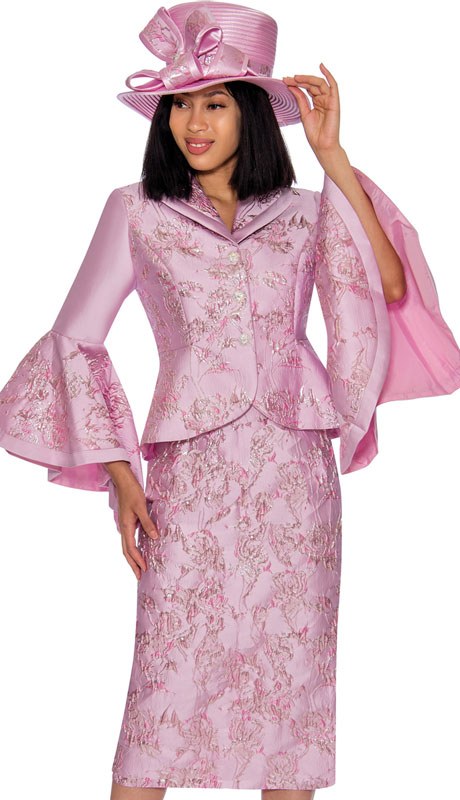 GMI 7372-PI ( 2pc Brocade Suit For Sunday With Striking Print And Wide Bell Sleeves )