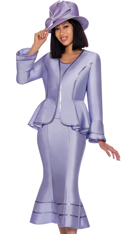 GMI 7023-LI ( 3pc Silk Look Womens Church Suit With Peplum Jacket And Cascading Rhinestone Trim )