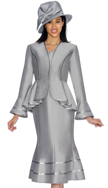 GMI 7023-SI ( 3pc Silk Look Womens Church Suit With Peplum Jacket And Cascading Rhinestone Trim )