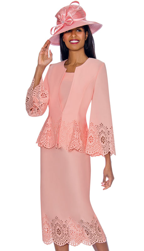GMI 7253-PI ( 3pc Scuba Knit First Lady Suit With Distinguished Cut Out And Scalloped Design )