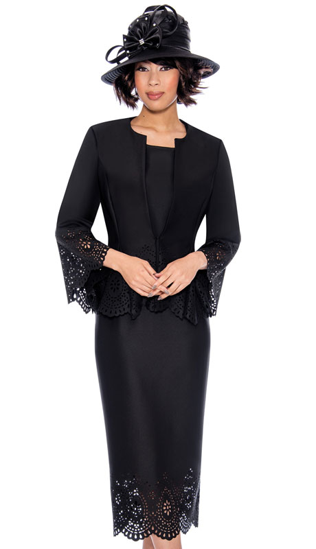 GMI 7253-BL ( 3pc Scuba Knit First Lady Suit With Distinguished Cut Out And Scalloped Design )