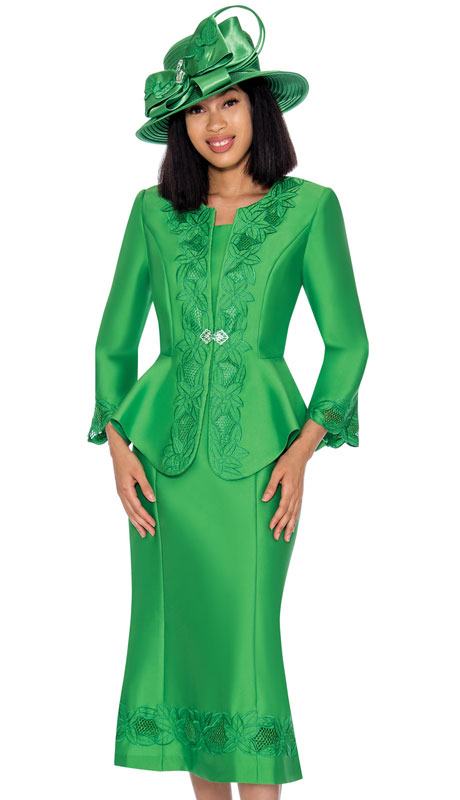 GMI 7302-EM ( 3pc Silk Look Ladies Suit With Graceful Embroidery On Jacket, Sleeves And Skirt )