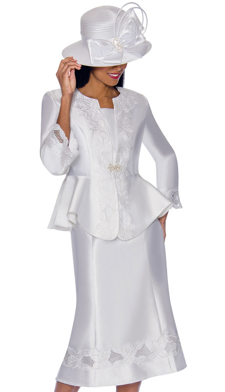 GMI 7302-WH ( 3pc Silk Look Ladies Suit With Graceful Embroidery On Jacket, Sleeves And Skirt )
