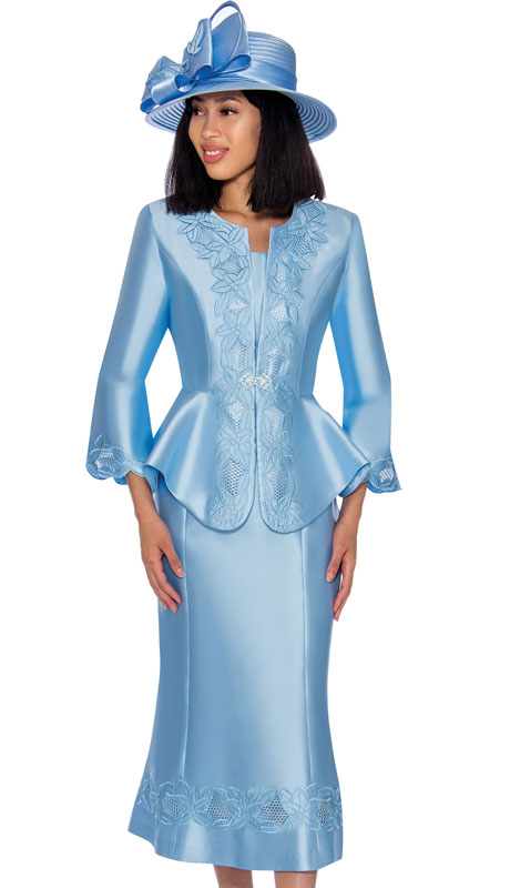 GMI 7302-PE ( 3pc Silk Look Ladies Suit With Graceful Embroidery On Jacket, Sleeves And Skirt )
