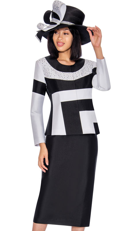 GMI 7212-BL ( 2pc Silk Look Ladies Church Suit In Color Block Pattern With Rhinestones )