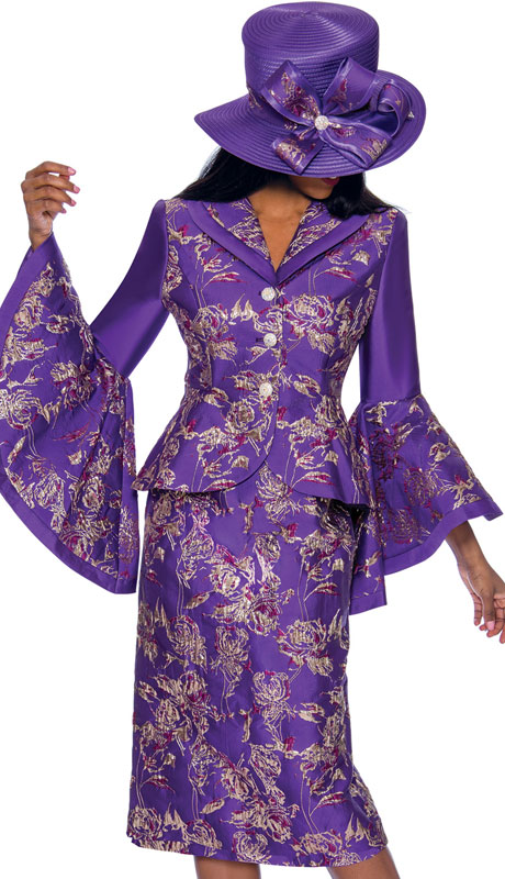 GMI 7372-PU ( 2pc Brocade Suit For Sunday With Striking Print And Wide Bell Sleeves )
