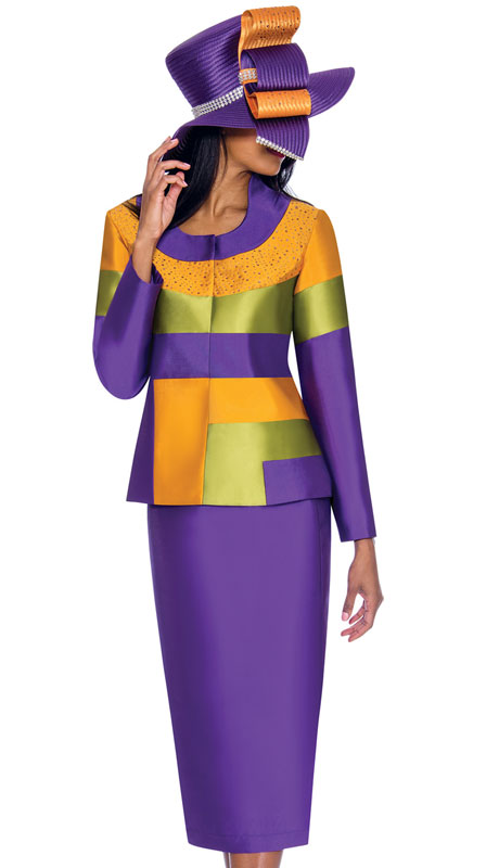 GMI 7212-PU ( 2pc Silk Look Ladies Church Suit In Color Block Pattern With Rhinestones )