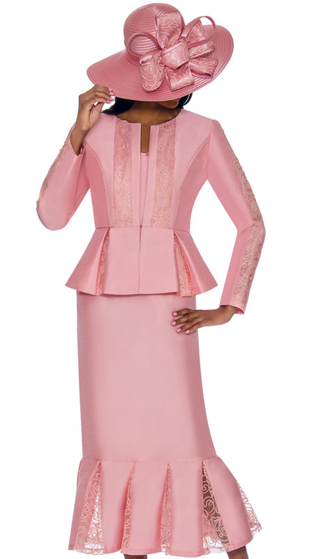 GMI 7123-PI ( 3pc Silk Look Womens Suit With Elegant Organza Trim On Peplum Jacket, Arms And Skirt )