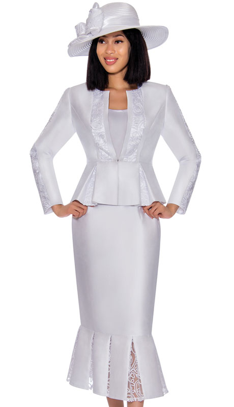 GMI 7123-WH ( 3pc Silk Look Womens Suit With Elegant Organza Trim On Peplum Jacket, Arms And Skirt )