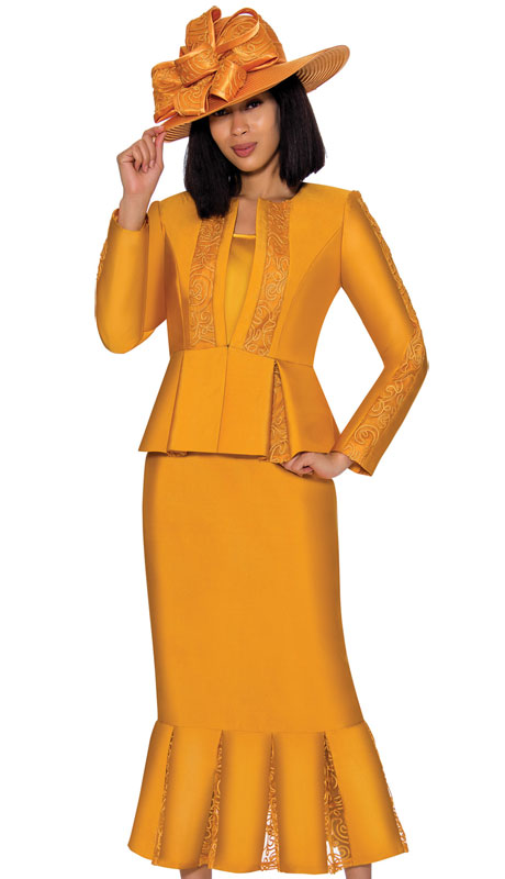 GMI 7123-GO ( 3pc Silk Look Womens Suit With Elegant Organza Trim On Peplum Jacket, Arms And Skirt )