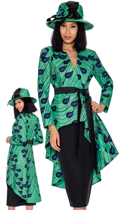 GMI 7362-GR ( 2pc Silk Look Ladies Church Suit With An Outstanding Solid And Print Cascading Effect )