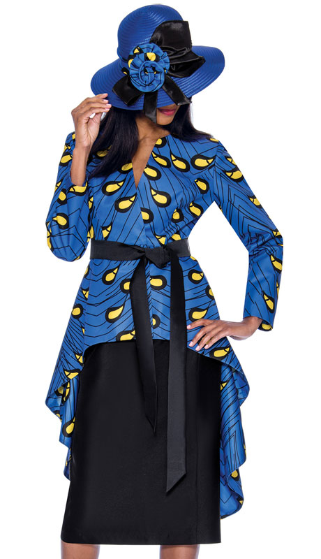 GMI 7362-RO-CO ( 2pc Silk Look Ladies Church Suit With An Outstanding Solid And Print Cascading Effect )