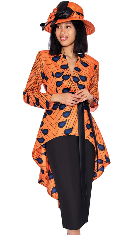 GMI 7362-OR ( 2pc Silk Look Ladies Church Suit With An Outstanding Solid And Print Cascading Effect )