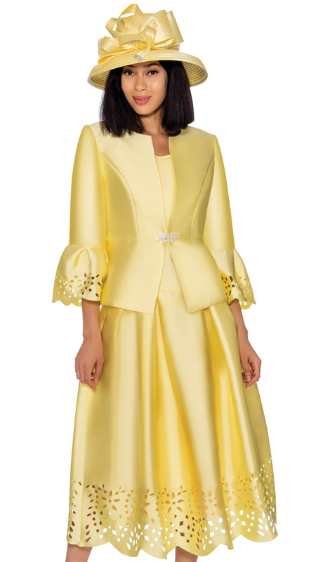 GMI 7383-YE ( 3pc Silk Look Suit For Sunday With Outstanding Cut Out Design Trims )