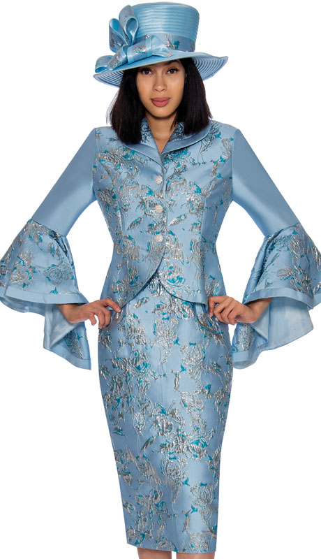 GMI 7372-BA ( 2pc Brocade Suit For Sunday With Striking Print And Wide Bell Sleeves )