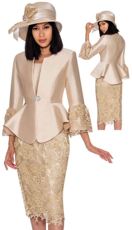 GMI 7032-CH ( 3pc Silk Look Ladies Church Suit With Lace Trimmed Sleeves, Rhinestone Buckle And Lace Skirt )