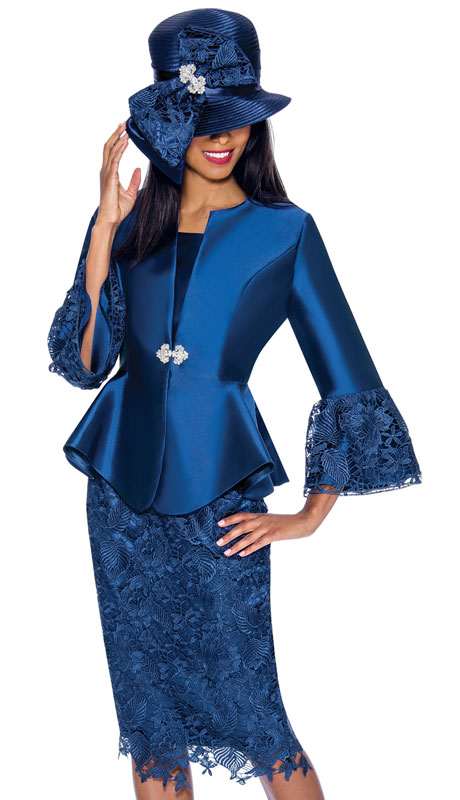 GMI 7032-NA ( 3pc Silk Look Ladies Church Suit With Lace Trimmed Sleeves, Rhinestone Buckle And Lace Skirt )