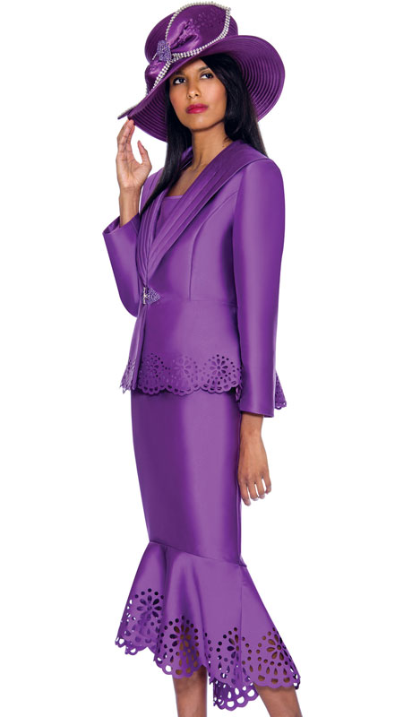 GMI 6643-PU ( 3pc Silk Look Laser Cutout Flounce Hem First Ladys Church Suit With A Wide Shawl Lapel )