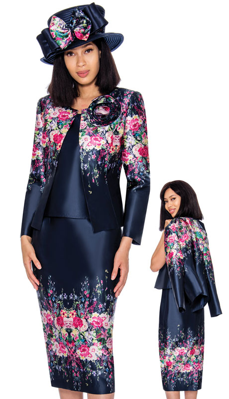 GMI 7313-MU ( 3pc Silk Look Ladies Church Suit With Elegant Border Pattern )