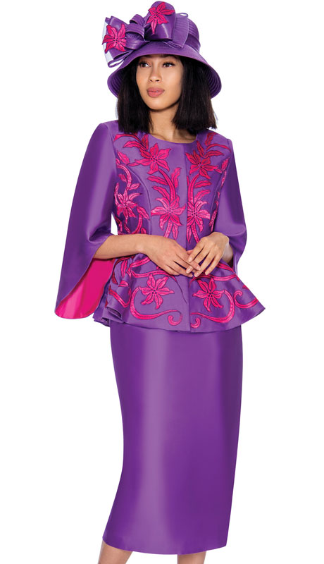 GMI 7172-PU-CO ( 2pc Silk Look Ladies Church With Vivid Embroidered Applique And Distinct Sleeves )