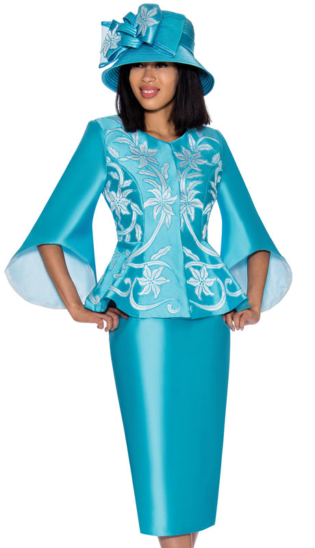 GMI 7172-TU ( 2pc Silk Look Ladies Church With Vivid Embroidered Applique And Distinct Sleeves )