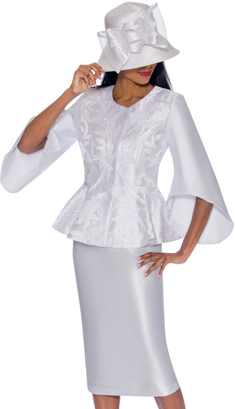 GMI 7172-WH ( 2pc Silk Look Ladies Church With Vivid Embroidered Applique And Distinct Sleeves )