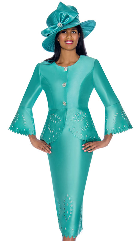 GMI 7192-SE ( 2pc Silk Look Ladies Church Suit With Laser-Cut Outs And Scalloped Trim, Rhinestone Jeweled Buttons And Bell Sleeves )
