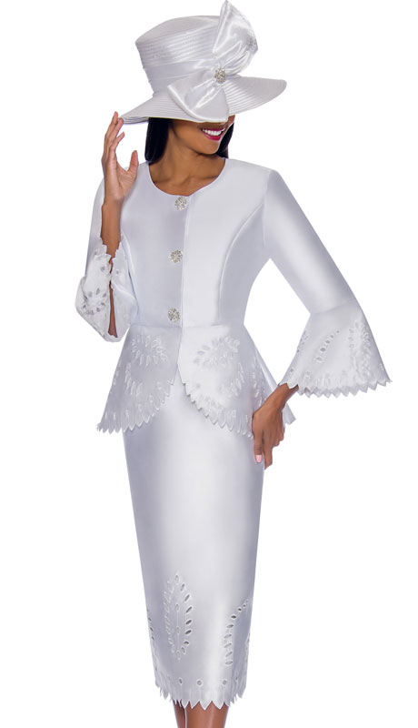 GMI 7192-WH ( 2pc Silk Look Ladies Church Suit With Laser-Cut Outs And Scalloped Trim, Rhinestone Jeweled Buttons And Bell Sleeves )