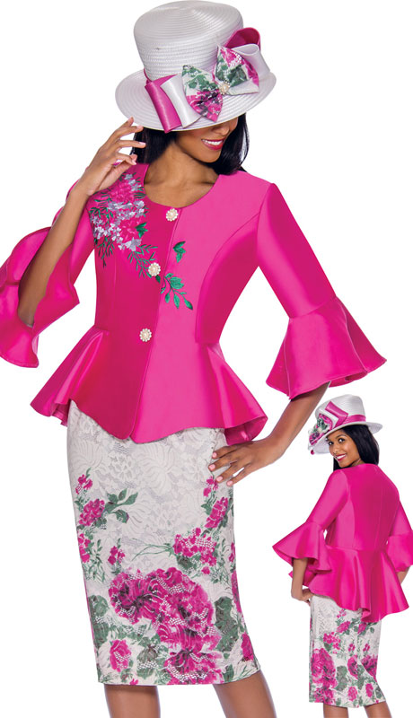 GMI 7162-MA ( 2pc Silk Look And Lace Suit With Vibrant Hand Embroidered Print, Rhinestone Buttons And Bell Sleeves )