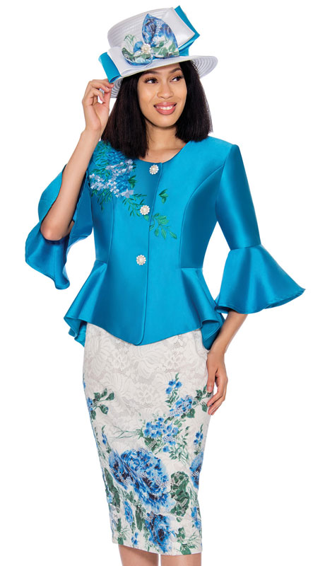 GMI 7162-TU ( 2pc Silk Look And Lace Suit With Vibrant Hand Embroidered Print, Rhinestone Buttons And Bell Sleeves )