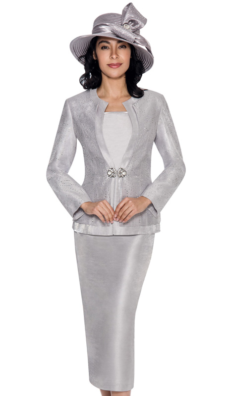 GMI 6093-SIL-IH ( 3pc Shimmer Shantung Womens Church Suit )