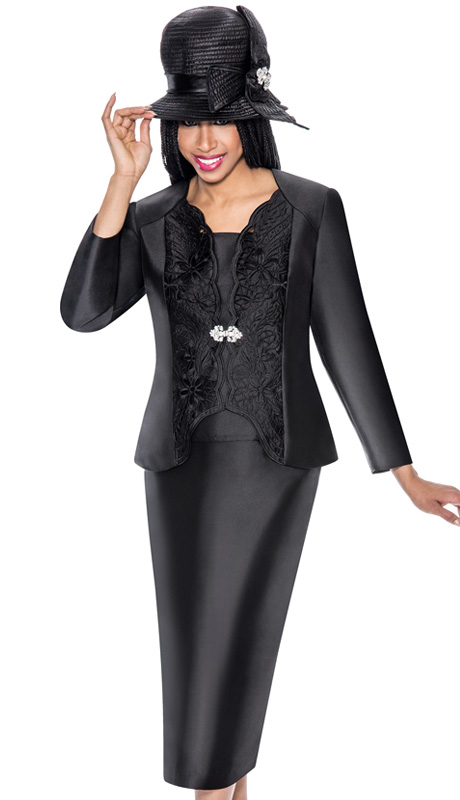 GMI 6173-BLK-IH ( 3pc Silk Look Pattern Cut-Out Jacket, Cami And Skirt Church Suit )