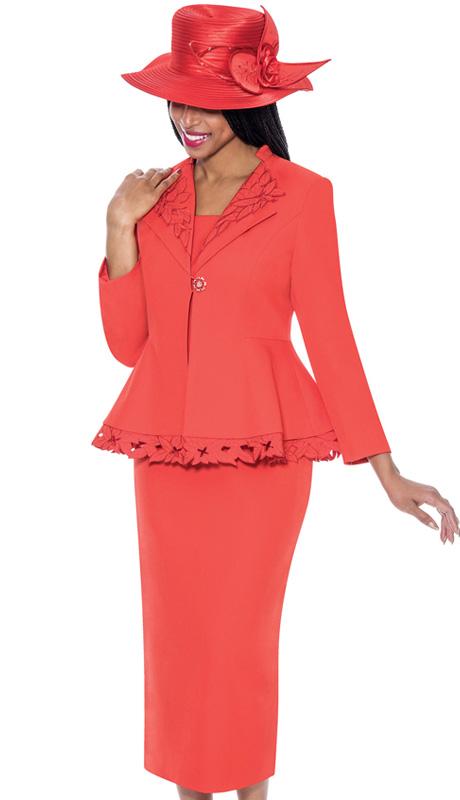 GMI 6272-RE-IH ( 3pc PeachSkin Leaf Design Embellishment Womens Church Suit )