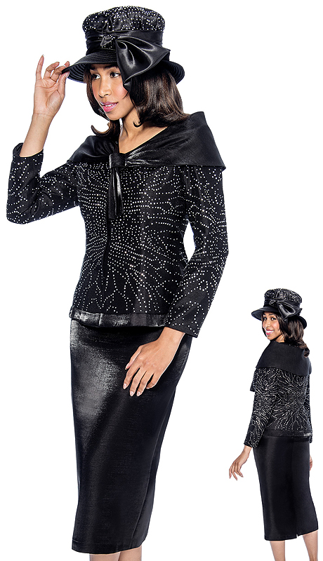 GMI 6312-BLK-IH  ( 2pc Shantung Rhinestone Jacket With Shawl Wrap And Skirt Suit For Church )