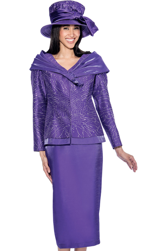 GMI 6312-PUR-IH ( 2pc Shantung Rhinestone Jacket With Shawl Wrap And Womens Skirt Suit For Church )