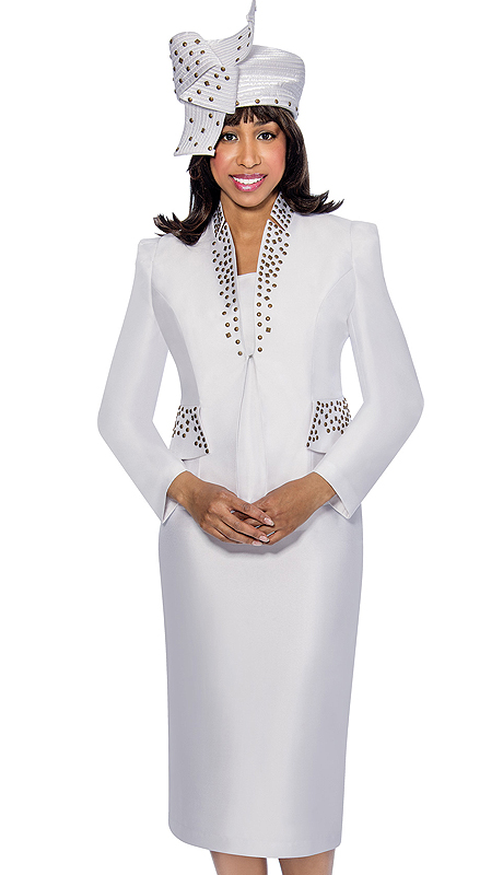 GMI 6303-WHT  ( 3pc Silk Look Star Studded Collar And Stud Detailed Flap Pockets With Cami Womens Church Suit )