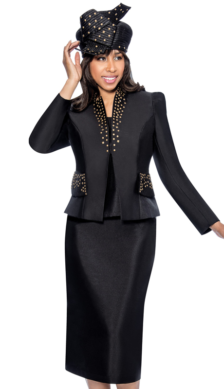 GMI 6303-BLK-IH ( 3pc Silk Look Star Studded Collar And Stud Detailed Flap Pockets With Cami Womens Church Suit )