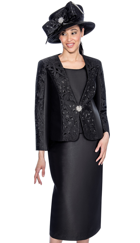 GMI 6413-BLK ( 3pc Silk Look Embroided Laser Cut  Design With Rhinestone Closure Womens Suit )