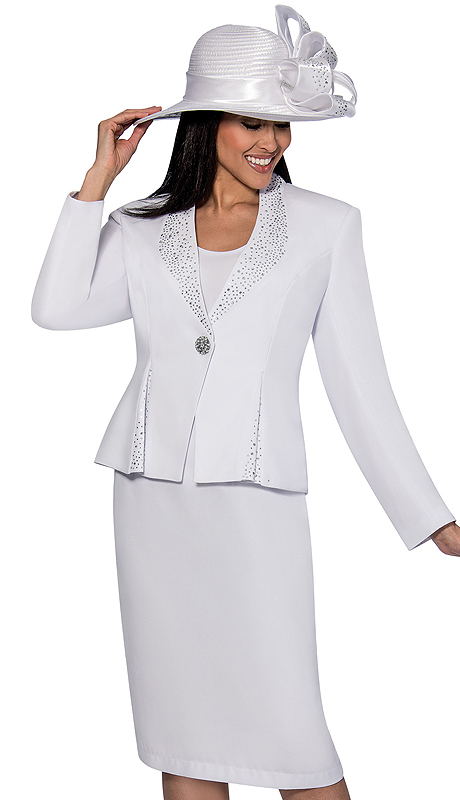 GMI 6353-WHT ( 3pc Renova With Rhinestones And Cami Suit For Church )